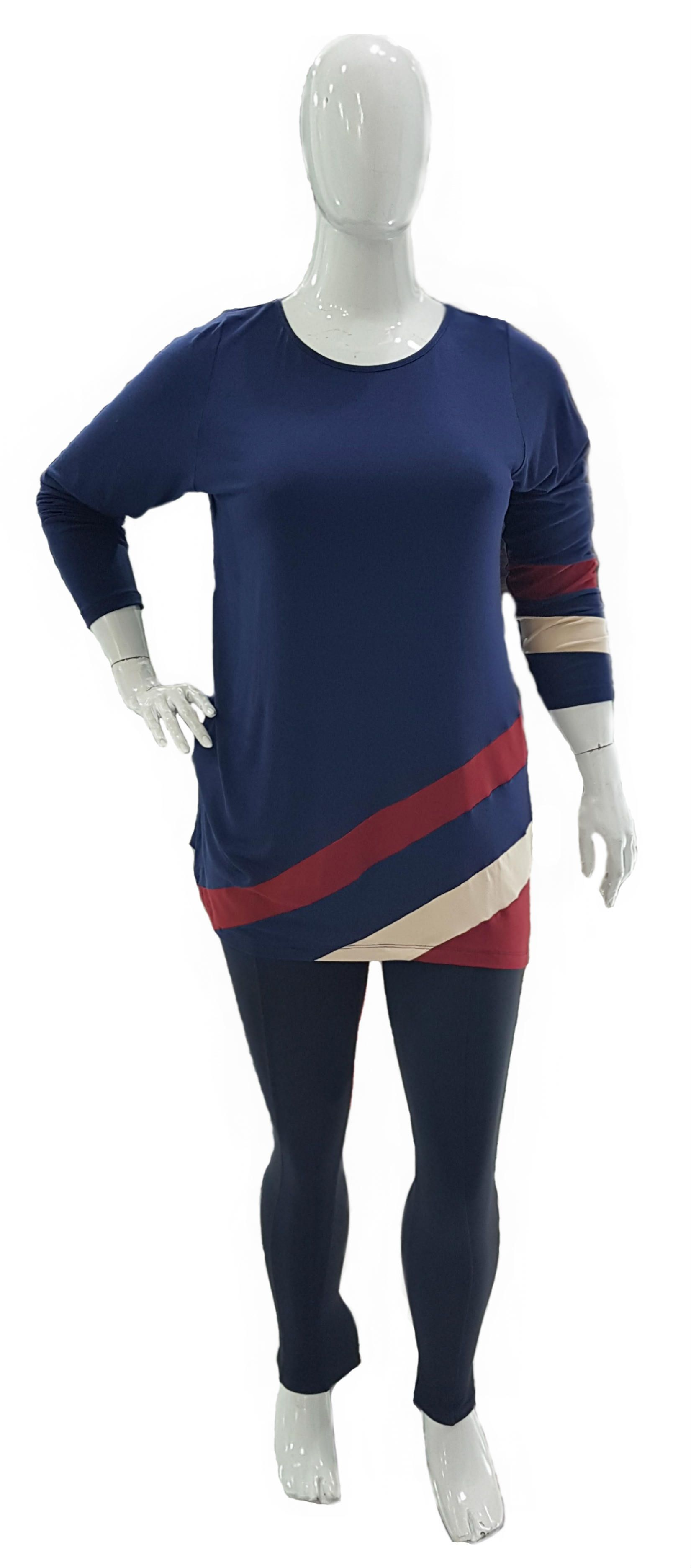 Blusa Plus Size Listras Viscose com Elastano Ref 03054 / Legging Plus Size Cotton Ref 01183