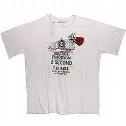 Camiseta PLUS SIZE estamp freedon branca Ref. 01053