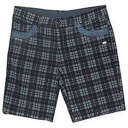 Bermuda Plus Size Xadrez de coz Azul jeans c/ riscas verm Ref 01086